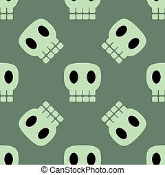Seamless dark pattern with skulls green background