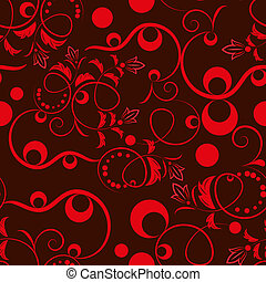 Seamless dark red floral pattern.