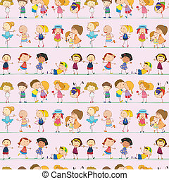 Illustration of a seamless design with kids on a white background