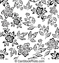 Seamless floral background, symbolical flowers and leaves, black contours on white. Vector