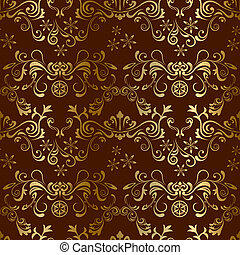 Abstract seamless floral brown pattern. Illustration vector.