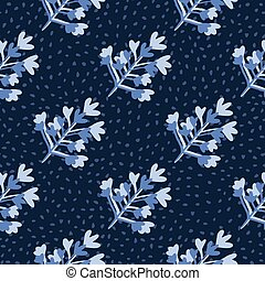 Seamless floral drk pattern with abstract botanic shapes. Navy blue background with dots and light blue brach elements.