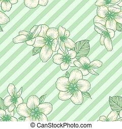 Seamless floral pattern, apple flowers light botanical vector background illustration
