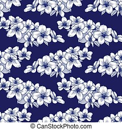 Seamless floral pattern, botanical vector background illustration in dark blue and white