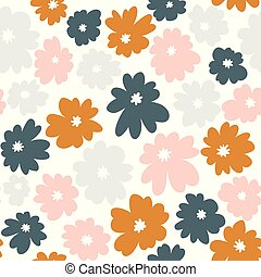 Seamless floral pattern in doodle style with flowers.