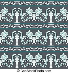 Seamless floral pattern in the style of Chinese painting. Bright flowers on a dark background.