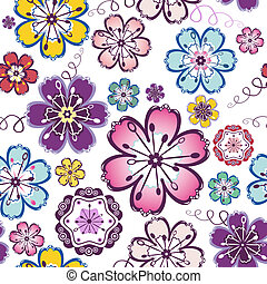 Lilas, violet, blue, pink and white seamless floral pattern (vector)