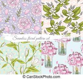 Seamless floral pattern set