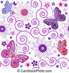 White seamless floral pattern with flowers and butterflies (vector)