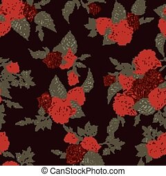 Seamless floral pattern with red roses on dark background