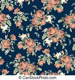 Seamless floral pattern with roses on dark background, watercolor