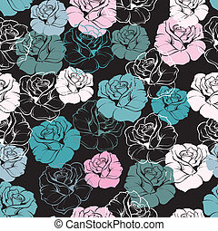 Seamless floral vector rose pattern