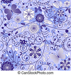 Seamless floral violet-blue pattern