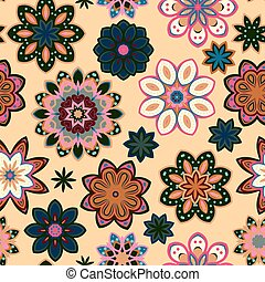 Seamless flower retro pattern in vector. Green pink flowers on beige background.