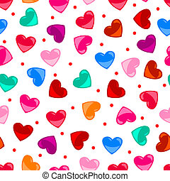 Cute and fun seamless pattern of colorful heart shapes over white background, perfect for Valentine's day or other love concept