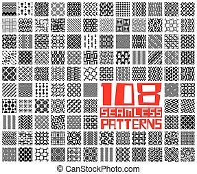 Seamless Geometric Pattern Set. Vector Monochrome Backgrounds