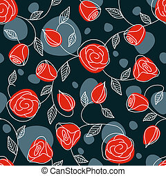 Seamless hand drawn pattern with red roses