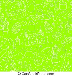 Seamless happy easter pattern in doodle style. Hand drawn