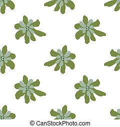 Seamless isolated pattern with abstract green and blue colored flowers ornament. White background.