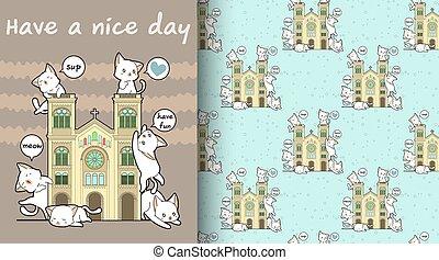 Seamless kawaii cats with a historic chapel pattern