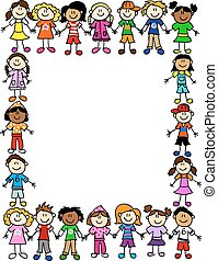 Frame or page border of cute kid cartoon characters holding hands