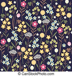 Seamless meadow flowers background
