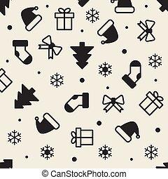 seamless monochrome christmas pattern background