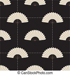 seamless monochrome fan pattern background