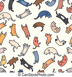 Seamless pattern doodle cats on white background, vector illustration