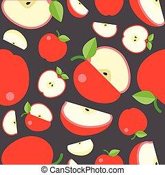 Seamless pattern fruit background, apple vector illustration