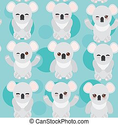 Seamless pattern -Funny cute koala on blue background. Vector
