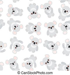 Seamless pattern - Funny cute koala on white background. Vector