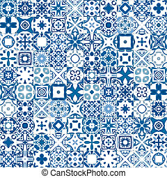 Seamless pattern illustration in blue and white - like Portuguese tiles