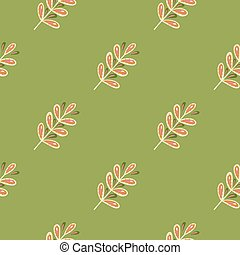 Seamless pattern in dark tones with doodle leaf branch ornament. Green background.