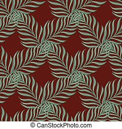 Seamless pattern in geometric style with simple fern leaf ornament. Pale dark maroon background.