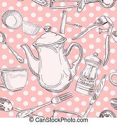 Seamless pattern kitchen utensils