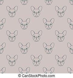 Seamless pattern made of french bulldog head sketch