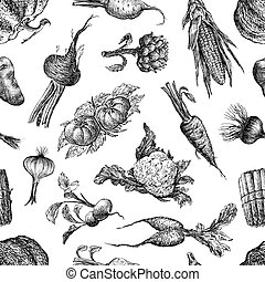 Seamless pattern of a various vegetables sketches