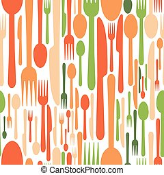 Seamless pattern of Cutlery, knife, fork and spoon. Vector illustration for printing, textiles, and texturing.