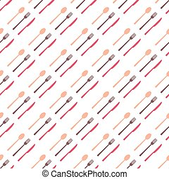 Seamless pattern of fork, spoon and knife .