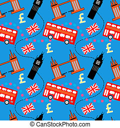 Seamless pattern of London buildings and items