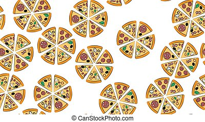 seamless pattern of pizza cartoon letters on a white background. Vector image eps 10