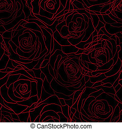 seamless pattern of red roses on the contours of a black background