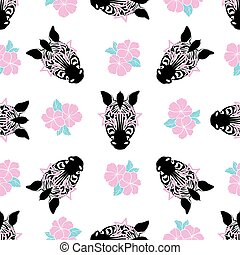 Seamless pattern. Portrait of a zebra with pink glasses on a white background.