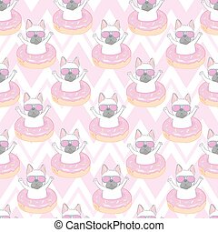 Seamless pattern with a black and white Cartoon French Bulldog puppies in a glasses on a pink background. Vector illustration.