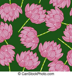 Seamless pattern with abstract doodle pink contoured lotus flower ornament. Green background. Random print.