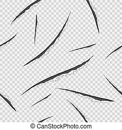 Seamless pattern with black claws animal scratch scrape track. Ragged edges. Damaged cloth. Transparent background. Vector illustration.