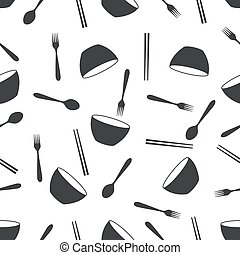 seamless pattern with bowl fork