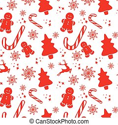 Seamless pattern with Christmas elements isolated on a white background. Vector.