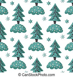 Seamless pattern with Christmas tree.